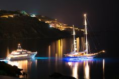 Two Yachts Resting In Ornos Bay In A Very Calm Night | Greece | Photo By Nikosdio