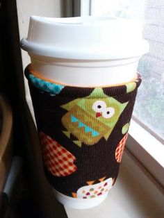 Fabric Coffee Cozy / Coffee Sleeve  121620 Ounce by QuiltNCrochet