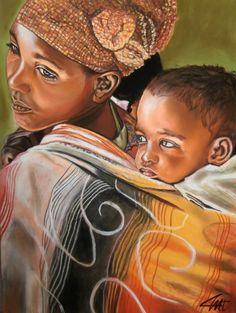 Art Black Love, Black Is Beautiful, African Women, African Art, Portraits Pastel, Dossier Photo, African Paintings, Black Art Pictures, African American Artist