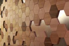 wooden tiles wall #wood #tile #hexagon #coffee #PanKralicek #industrial #magnetic #container