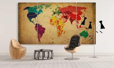 Large World Map Canvas Wall Art Colorful Retro by CanvasFactoryCo Canvas Frame, Canvas Wall Art, Wall Art Prints, Canvas Prints, Framed Maps, Framed Wall Art, Modern Artwork, Contemporary Art, Large World Map Canvas