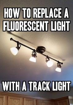 How to Replace a Fluorescent Light With a Track Light wie macht man Home Lighting, Kitchen Lighting, Lighting Ideas, Farmhouse Track Lighting, Kitchen Ceiling Lights, Closet Lighting, Industrial Lighting, Led Ceiling, Lighting Design
