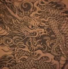 Japanese dragon #drawing #dragon | By Chris Garver | Done at Five Points Tattoo NYC | Mar 12th 2018 | 487363 Dragon Tattoo Drawing, Black Dragon Tattoo, Dragon Sleeve Tattoos, Japanese Dragon Tattoos, Japanese Tattoo Art, Japanese Art, Japanese Tiger, Monami Frost, Dragon Oriental
