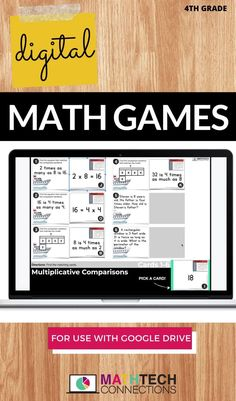 Review multiplication with these digital 4th grade math task cards. Students complete these interactive math slides using Google Classroom. You can use the PowerPoint version with Microsoft Teams. All 4th grade math standards are covered in this digital math bundle of activities.  #mathgames #mathcenters #digitalmath #paperlessmath #blendedlearning #distancelearning #remotelearning #googleslides #googleclassroom Spiral Math, Teaching Multiplication, Math Assessment, Math Task Cards, Fourth Grade Math, Blended Learning, Matching Cards, Google Classroom, Word Problems