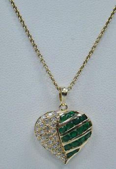 "14K YELLOW GOLD 1/5 CT TW DIAMOND GREEN EMERALD HEART PENDANT 16"" CHAIN 4.6g #Pendant"