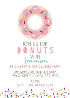Donut Birthday Party Invitation Doughnut Custom by TheWickedThief