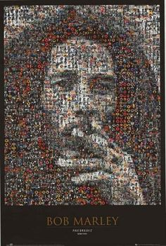 "A great Bob Marley ""photomosaic"" poster - hundreds of tiny images of the Reggae legend form a classic portrait! Check out the rest of our Natty selection of Bob Marley posters! Need Poster Mounts. Wall Street Posters, Bob Marley Smoking, Art Pictures, Photos, Reggae Bob Marley, Chris Jordan, Donald Trump, Marley Family, Nesta Marley"