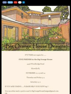 IT'S ALMOST TIME!!!!!  Check out my BIG ORANGE  HOUSE DESIGNS November Newsletter!