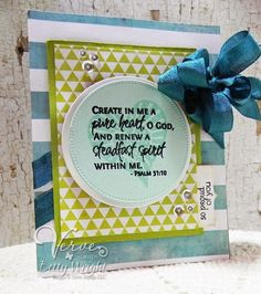 Card features Verve's Scripture Medley 1,  More than Love, and Small Phrases stamp sets along with Verve's Cut Above Flag It dies and Verve's Stormy Skies Ribbon Collection. A few of Verve's Shine Bright Sequin Mix completes the card.