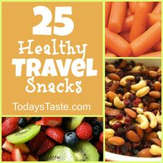 It is hard to stick to a diet while on the go! These 25 Healthy Travel Snacks will help you stay healthy! From TodaysTaste.com #heathysnacks #travelsnacks