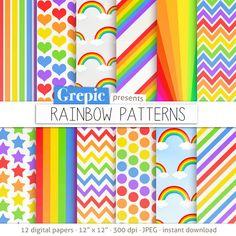 """Papel digital del arco iris: papel digital """"Arco iris"""" patrones""""paquete w chevron, lunares, rayas, puntos, estrellas, arco iris y los patrones en multicolor"""