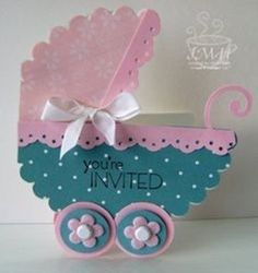 Big shot baby carriage by - Cards and Paper Crafts at Splitcoaststampers Baby Shower Cards, Baby Boy Shower, Baby Shower Gifts, Baby Gifts, Baby Girl Cards, New Baby Cards, Diy And Crafts, Paper Crafts, Baby Shower Invitaciones
