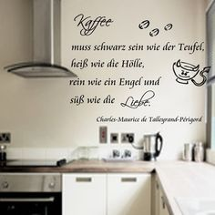 Fesselnd Kaffee  Hölle* Wandtattoo Küche Wallsticker Tattoo