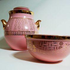 Hall China Gold Label Cookie Jar & bowl - Pink Basketweave