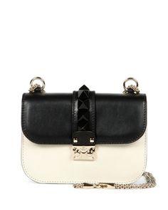 V2LZR Valentino Mini Lock Bicolor Shoulder Bag, Black/Ivory