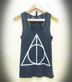 Sale Deathly Hallows Harry Potter tank top BLACK movie Women teen size S,M,L,XL plus size singlet tshirt ladies blouse