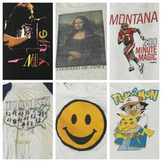 New in shop Neil Young vintage t 1987 size small $75, Mona Lisa 1980's t size medium $38, Joe Montana 1989 t size medium $35, Kinks super thin 1982 t size medium $95, Smiley Face cropped t small $30, Pokemon 1990's t small and distressed $30 (+$5 Domestic or +$20 international shipping) Contact the shop at 415-796-2398 to purchase by phone or send PayPal payment to afterlifeboutique@gmail.com and reference item in post; the first confirmed payment will get the item. Call or DM with other…