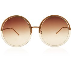 Linda Farrow Rose Gold Oversized Round Sunglasses ($545) ❤ liked on Polyvore featuring accessories, eyewear, sunglasses, glasses, glasses/sunglasses, oversized round glasses, round frame sunglasses, round lens sunglasses, round glasses and vintage sunglasses