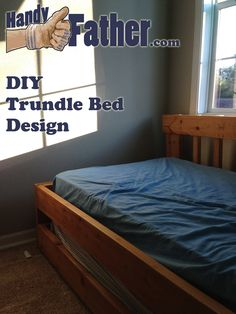 This DIY trundle bed design was made for my daughter. It is very sturdy 2x6 construction with plywood bases for the mattresses. A good DIY trundle bed plan