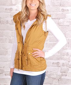 I love this mustard hoodie military style cargo vest for fall!