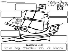 Columbus Day FREEBIE! Students label the picture by writing the words provided in the correct boxes.