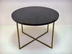 Jonathan Large Low Side Table with Dark Shell Top and Gold Base Other Finish Options Available for Top and Base