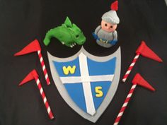 Knight and dragon Cake toppers by HauteTart on Etsy, $26.00