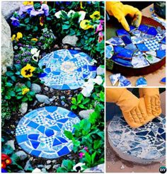 DIY Mosaic Cake Pan Stepping Stone Instructions