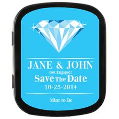 Blue and Diamond Personalized Save the Date Mint Tin Party Favors, great for engagement parties! #savethedate #ediblefavors #tiffanyswedding