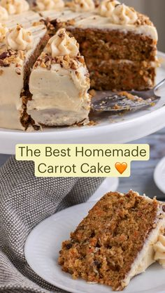 Homemade Carrot Cake, Best Carrot Cake, Homemade Cake Recipes, Fun Baking Recipes, Dessert Recipes, Carrot Cakes, Carrot Cake Recipes, Carrot Cake Frosting, Gluten Free Carrot Cake