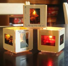 denise cerro: What to do with old slides. Cute Crafts, Crafts To Make, Arts And Crafts, Paper Crafts, Diy Crafts, Small Candle Holders, Small Candles, Photo Projects, Craft Projects