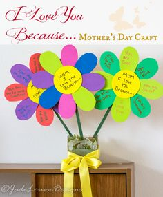 Mother's Day Craft for Kids I Love You Because Mothers Day Craft Flowers, Perfect Mothers Day Gift.I Love You Because Mothers Day Craft Flowers, Perfect Mothers Day Gift. Homemade Mothers Day Gifts, Mothers Day Crafts For Kids, Crafts For Kids To Make, Mother Day Gifts, Homemade Gifts, Easy Mother's Day Crafts, Kid Crafts, Flower Crafts, Craft Flowers