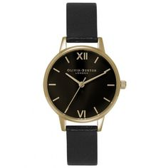 Olivia Burton Midi Dial Black Dial Watch - Black & Gold (845 SEK) ❤ liked on Polyvore featuring jewelry, watches, gold wristwatches, black gold watches, black wrist watch, black watches and kohl jewelry