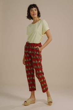9b600902b Kiana relaxed drawstring trousers in red and gold fish print - Mayamiko  Sustainable Fashion Lemon Sorbet