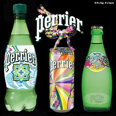 Perrier® Sparkling Natural Mineral Water today announces the official release of its all-new Street Art limited edition collection. These vibrant packaging designs feature original work by three le… Natural Mineral Water, Juice Packaging, Arizona Tea, Drinking Tea, Packaging Design, Vodka Bottle, Liquor, Street Art, Canning