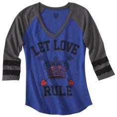 Juniors Let Love Rule Graphic Tee - Royal Blue