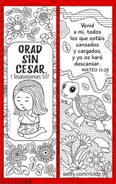 Bible Bookmark, Paper Bookmarks, Bible For Kids, Letter Size Paper, Bible Verses, Spanish, Coloring, God, Lettering