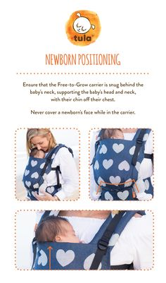 Newborn positioning in Baby Tula Free-to-Grow Baby Carrier. Ensure that the 427f4b4630