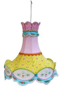 Vintage Craft Room, Vintage Crafts, Kitsch, Handmade Lampshades, Kids Lamps, Cottage Lighting, Nursery Lighting, Pastel Room, Floral Chandelier