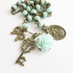 Blue rose necklace, romantic jewelry. #handmade #jewelry #tiffany #blue #flowers #roses #weddings #necklace