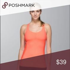 """Core kicker tank in """"very light flare"""" color Like new! Bright, pretty color. Built-in sports bra. Will include small Lululemon shopping bag with purchase. lululemon athletica Tops Tank Tops"""