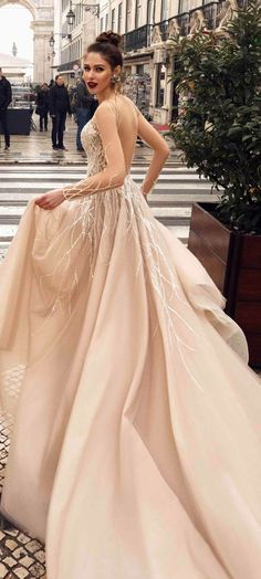 Long sleeves embellishment a line wedding dress : Innocentia wedding gown #weddingdress #wedding #weddinggown #bridedress