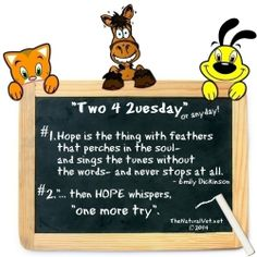 "This week's ""Two 4 2uesday"" (or any day!)... 1. Hope is the thing with feathers that perches in the soul- and sings the tunes without the words- and never stops at all. ~ Emily Dickinson 2. ""... then HOPE whispers, ""one more try"".  #TwoForTuesday #2ForTuesday #Two4Tuesday"