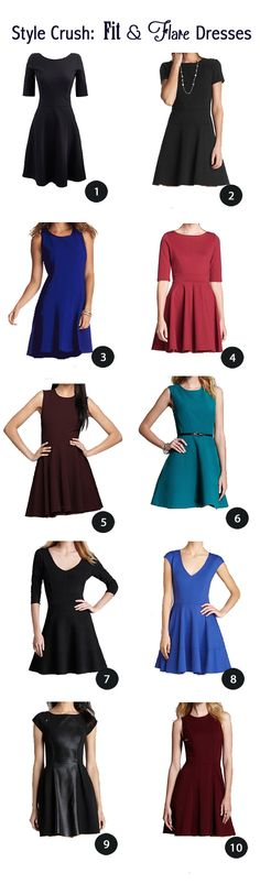 All my favorite fit and flare dresses in one round-up.  Most flattering for all shapes!