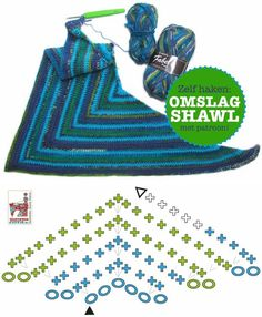 Indents Shawl, free pattern diagram. Very simple top-down triangle, all SC…