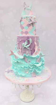 I really enjoyed making this three tiered chocolate cake for my friends daughter. Pretty Cakes, Cute Cakes, Beautiful Cakes, Amazing Cakes, Mermaid Birthday Cakes, Mermaid Cakes, Birthday Cupcakes, Bolo Sofia, Bolo Tumblr