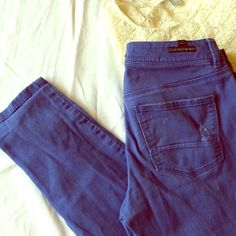 LC Lauren Conrad blue skinny jeans Distressed skinny jeans! Awesome looking! Waist laying flat across is 15 inches. Inseam is 29 inches. LC Lauren Conrad Jeans Skinny