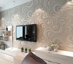 AuBergewohnlich QIHANG Moderne Luxus Abstrakte Kurve 3d Tapete Rolle Beflockung Für Striped  Cremeweiß Und Silber Farbe 0.7