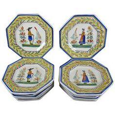 Henriot Quimper Octagonal Breton Vintage Faience Plates, France, Set of 12