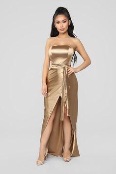 9d3790103ea Aaliyah Satin Dress - Gold